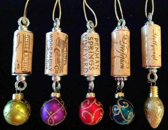 5 Wine Cork Christmas Ornaments by WineCorkGoodness on Etsy