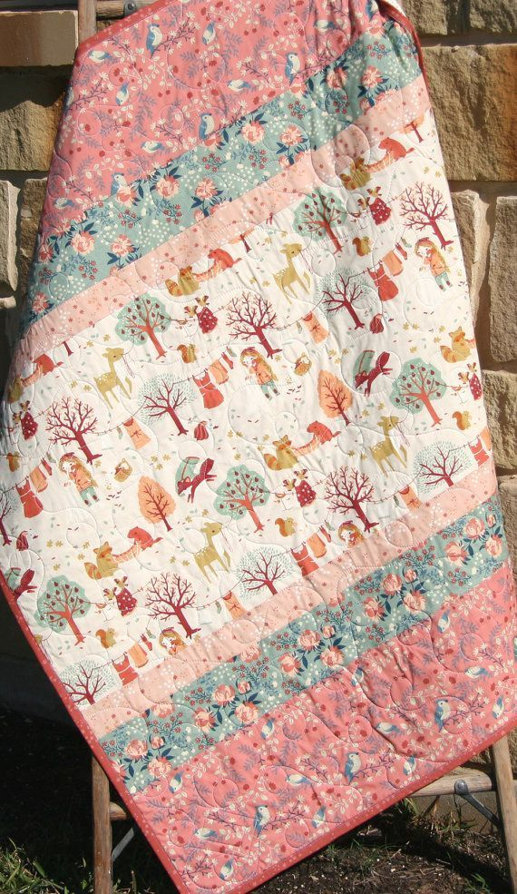 Baby Girl Quilt, Modern Blanket, Baby Bedding, Acorn Trail, Birch Organic Fabrics, Crib Quilt, Nursery Decor, Coral Mauve Pink SunnysideDesigns2