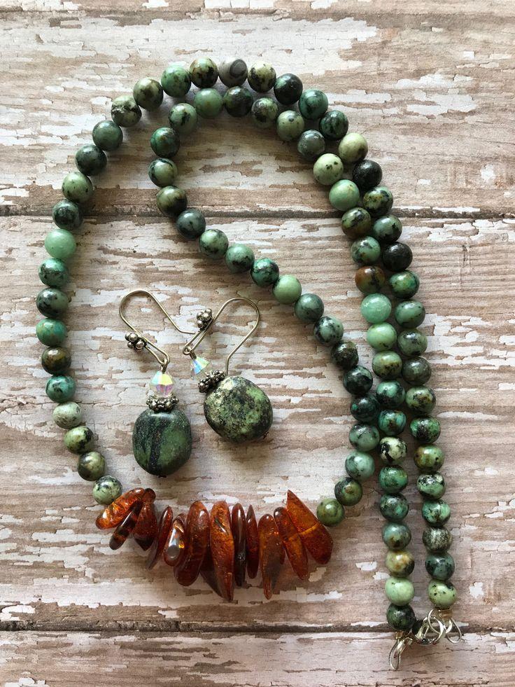 Turquoise & Amber gemstone necklace, Healing stone necklace, Gemstone necklace, Protection Stone necklace, Turquoise necklace by TheBurningTreee on Etsy