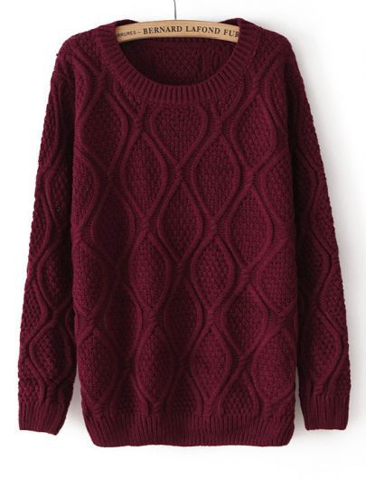 Dark Red Long Sleeve Diamond Patterned Pullover Sweater - Sheinside.com Mobile Site