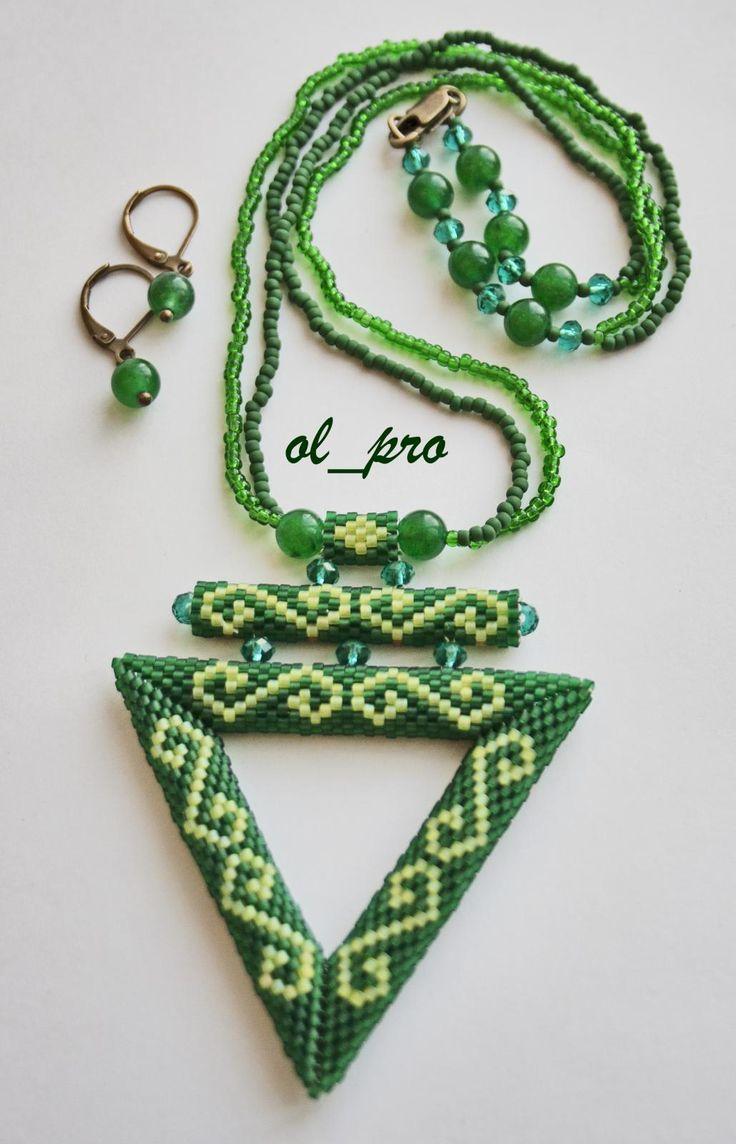 Зелёный треугольник | biser.info - всё о бисере и бисерном творчестве