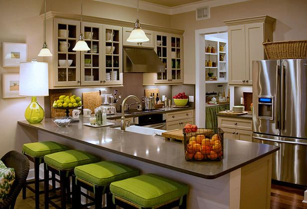 Illuminate the Flow - Kitchen Lighting Design Tips  on HGTV.  Shows a lamp can be placed on top of serving bar/countertop