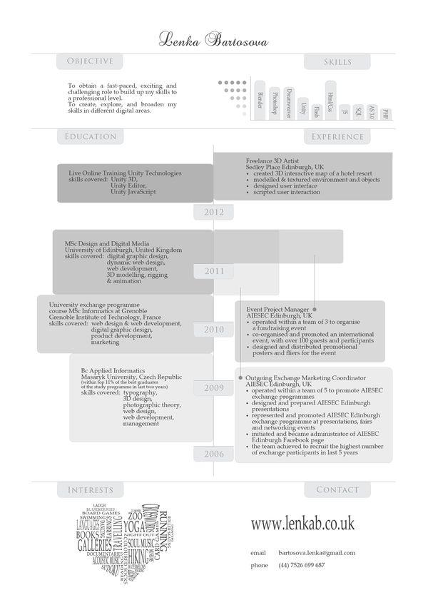 CV redesign by Lenka Bartosova, via Behance