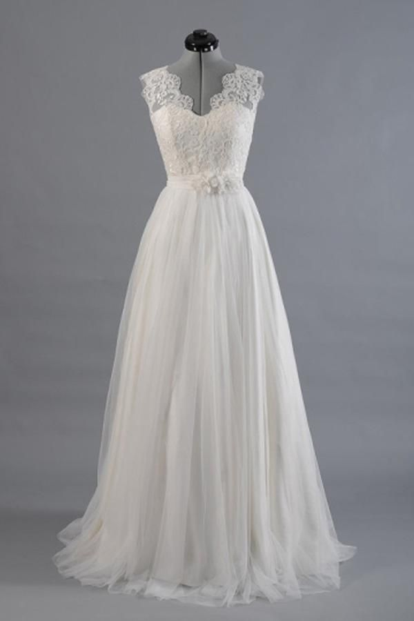 A-line V-Neck Sashes Appliques Beach Wedding Dress WD170 #wedding #dress