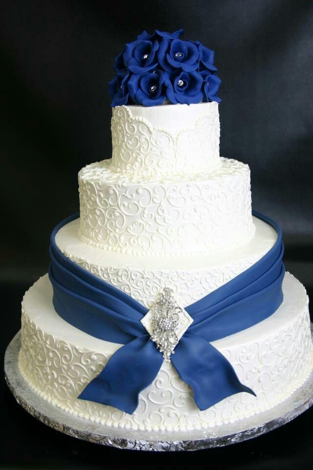 Wedding Cake! #laceweddingcake #navyandwhitecake #royalcake