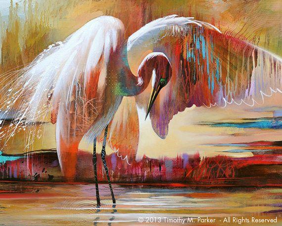 Abstract Bird Art • Contemporary Egret Painting Reproduction • Last Light • Tropical Bird • Florida Bird Painting