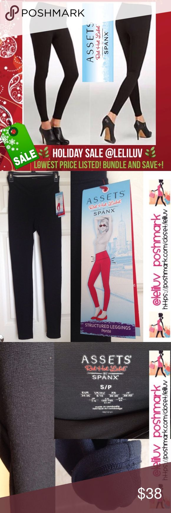 """Assets by SPANX ponte structured leggings black NWT. Assets by SPANX structured leggings ponte (thicker knit, opaque. Flattering fabric, hides your lumps and bumps in ponte shaping leggings. Perfect for travel & office, wear day to night. Flatten the tummy with a wide double-layer shaping mesh waistband. Slims and smoothes from tummy to legs ✔️Approx. measurements, unstretched: 13"""" waist, 28'' inseam (from seam at crotch), 14.5""""hips. ❗️See pic.4 with suggested sizes. ✔️Fabric content: 72%…"""