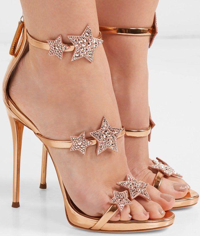 Giuseppe Zanotti 'Harmony Star' rose gold sandal with three