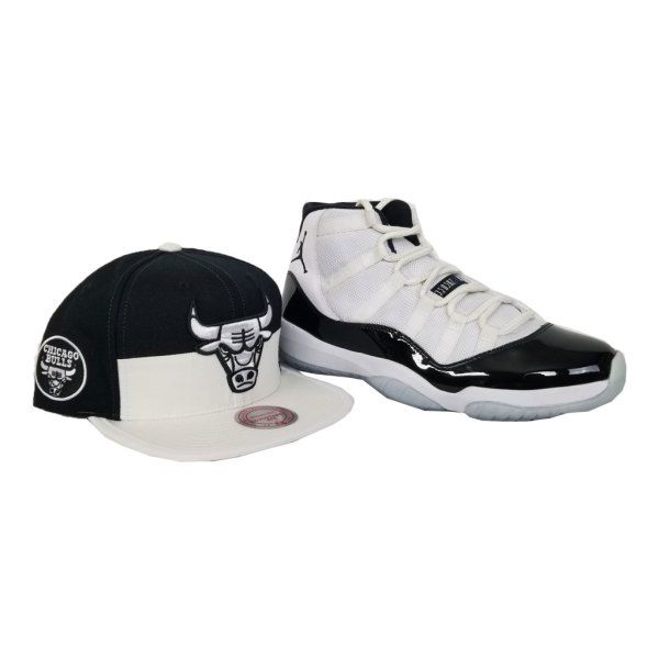 4bdd70b4c37 Matching Mitchell & Ness Chicago Bulls Snapback for Jordan 11 White Black  Concord