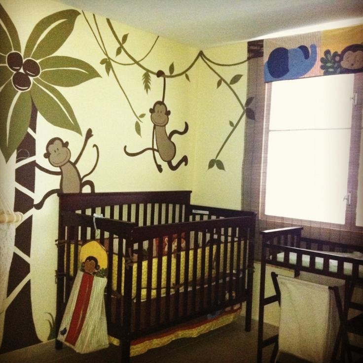 Cuarto de monitos mural pintado a mano decoracion for Mural para habitacion