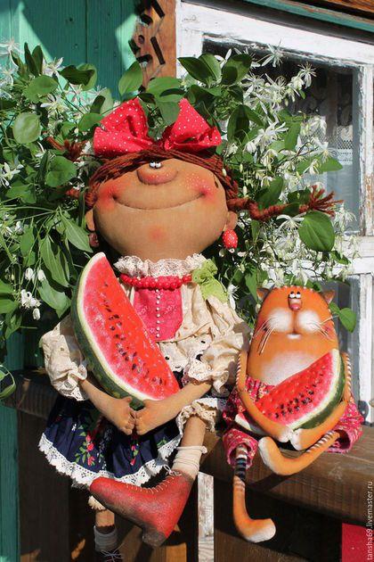 Коллекционные куклы ручной работы. Ярмарка Мастеров - ручная работа. Купить Арбузное лето!. Handmade. Комбинированный, интерьерная кукла, синтепух