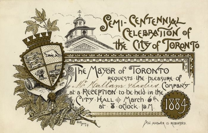 "HAPPY BIRTHDAY, TORONTO! The city of Toronto turns 180 today. While you can read and download a PDF of the original law on tpl.ca/digital-archive, it's not as pretty as this invitation from the Mayor to the Semi-Centennial, held March 6, 1884. (The act of incorporation, called ""An act to extend the limits of the Town of York; to erect the said Town into a City; and to incorporate it under the name of the City of Toronto"", was passed March 6, 1834."