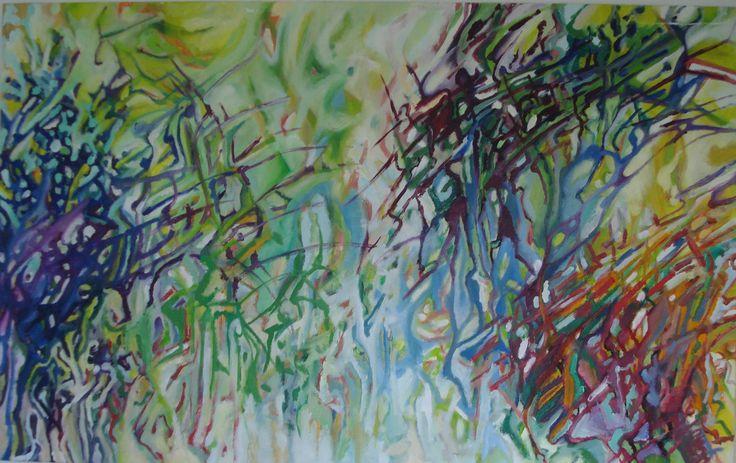 Olieverf 160 x 100 Door: Anne-Marie Kouters mei 2014. Deze hangt in de behandelpraktijk.