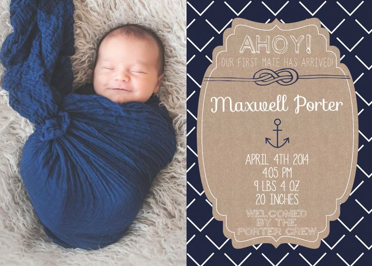Birth Announcement Newborn Boy Photo Nautical with Birth Stats Custom Printable by MintedPress on Etsy https://www.etsy.com/listing/196568639/birth-announcement-newborn-boy-photo