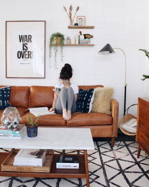 Canapé en cuir #déco #salon #folk