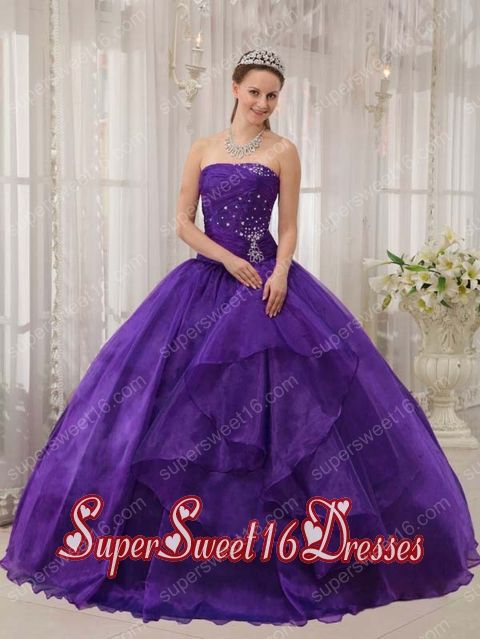 Eggplant Purple Ball Gown Strapless Organza Beading Elegant Sweet 16 Dresses