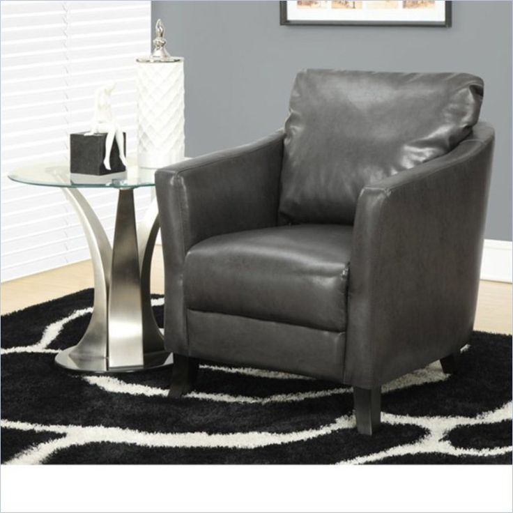 Charcoal Grey Bucket Accent Chair: Leather-Look Accent Chair In Charcoal Gray