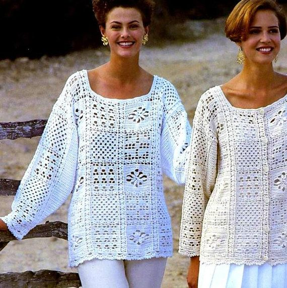 INSTANT DOWNLOAD PDF CROCHET PATTERN for two granny square motif tops This vintage UK crochet pattern for pretty Summer tops has been digitally cleaned and enlarged for ease of use Five gorgeous granny motif patterns makes two garments - a lovely loose tunic style sweater and a cardigan or jacket Perfect for holidays, evening wear or as a beach cover-up. Simple but stunning in white or neutral - but would look just as good in other colours. Instructions for one size - loose fitting…