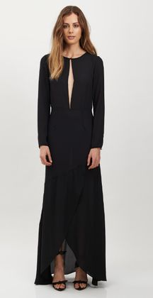 Marcel Maxi Dress by HONEY & BEAU has a rounded neckline with a rounded back. Features single covered button closure and deep V keyhole cutout at centre front bodice and full-length sleeves.