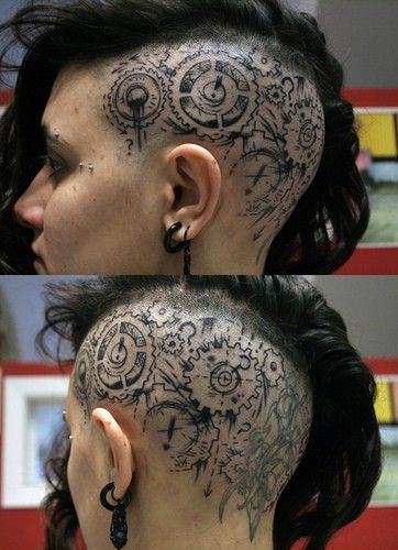Steampunky scalp tattoo... that's intense...: Tattoo Ideas, Skull Tattoo, Hair Tattoo, Body Art, Head Tattoo, Tattoo Patterns, A Tattoo, Tattoo Design, Steampunk Tattoo