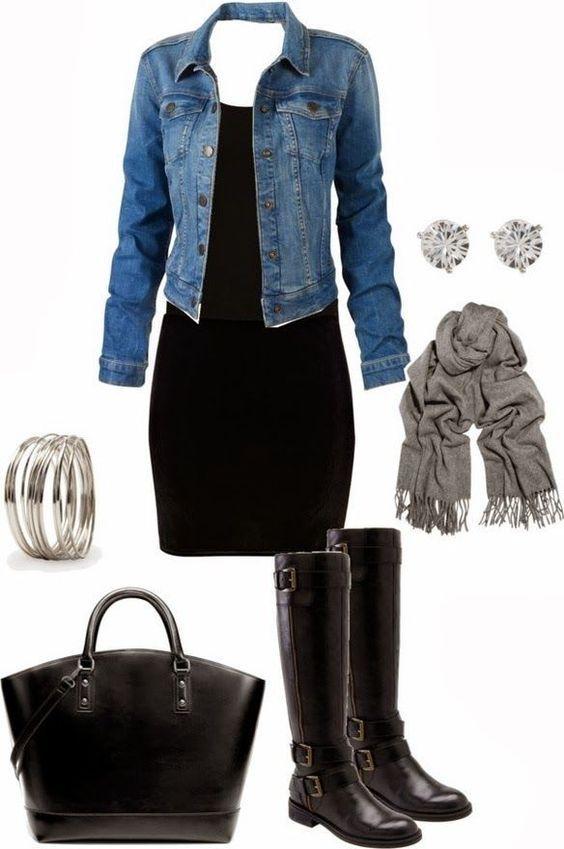 #winter #outfits / chambray shirt + black dress
