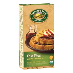 Low Fodmap Frozen Waffles: Chia Plus from Nature's Path (does contain pear or grape juice concentrate)  (image from us.naturespath.com)