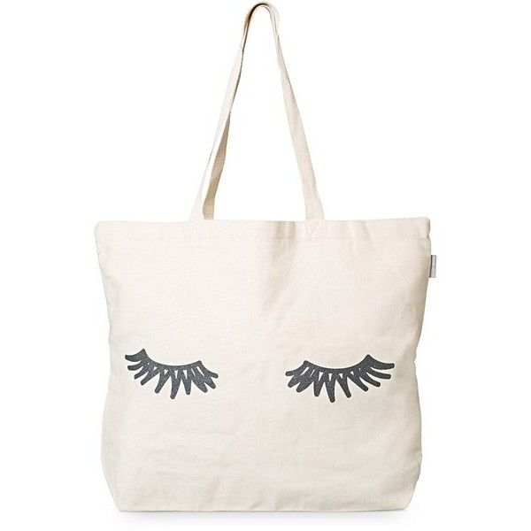 Grey Eyelashes Shopper Bag | Oliver Bonas ($12) ❤ liked on Polyvore featuring bags, handbags, tote bags, olive purse, olive green tote, army green purse, olive green handbag and shopping tote bags