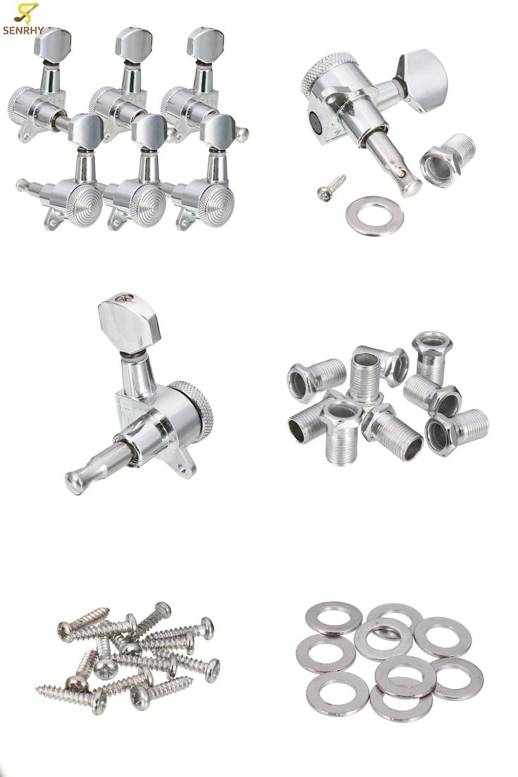 [Visit to Buy] 6 pcs/set 3R 3L Chrome Electric Acoustic Guitar String Tuning Pegs Locking Tuners Keys Machine Heads Guitar Parts & Accessories #Advertisement