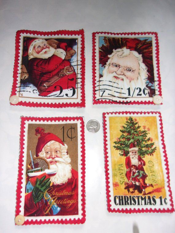 Victorian Santa Claus Magnet Set Christmas Postage Stamp Fabric Craft Magnets Office Exchange Teacher Gift Old Fashioned
