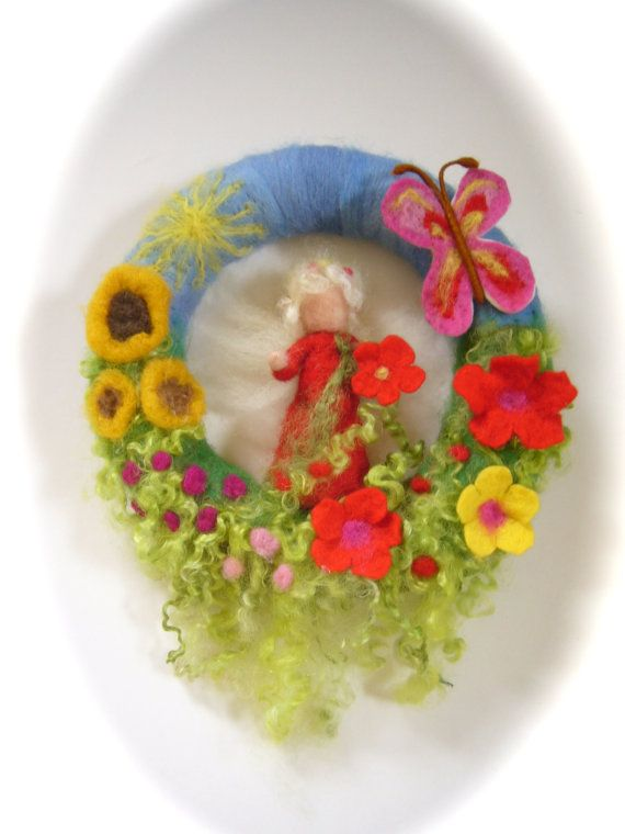 Fairy Sommer Wreath Felted Waldorf Elf by FilzArts on Etsy, $39.50
