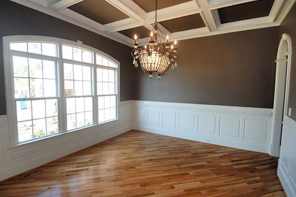 White wainscoting with chocolate walls coffered ceiling for Dining room molding ideas