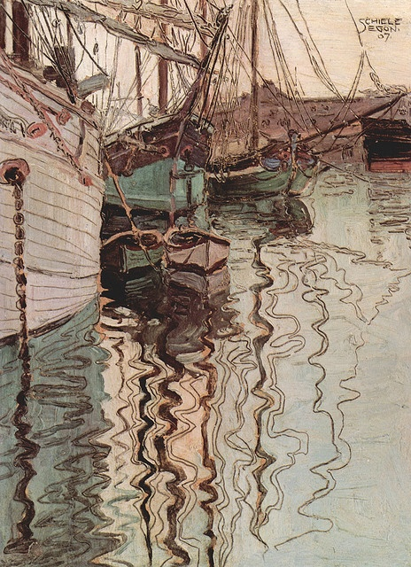 Egon Schiele, Sailing ships in the waves-exciting water (the harbour of Trieste) - 1907