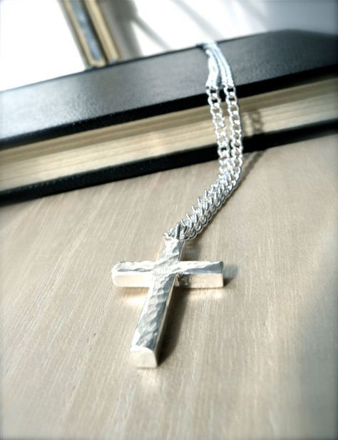Unique cross sterling silver jewellery mens cross necklace gift idea for him