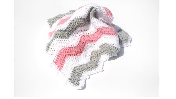 Pink Chevron Baby Blanket Chevron Crochet by CraftCreationsbyRose