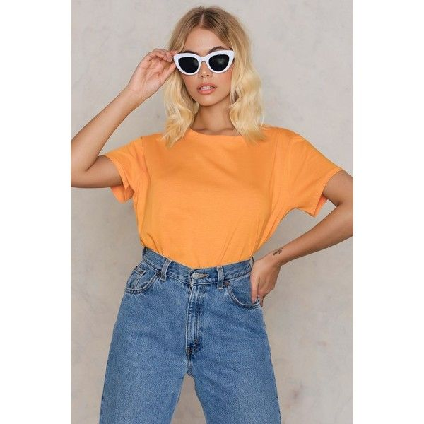 NA-KD Basic Basic Oversized Tee ($21) ❤ liked on Polyvore featuring tops, t-shirts, orange, orange tee, over sized t shirt, orange t shirt, oversized t shirt and oversized tee