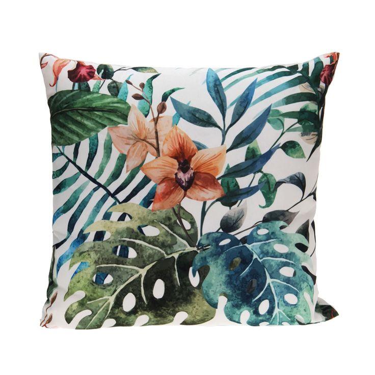 Decoratief kussen met een print van groene bladeren en een bloem op de voorkant. De kussenhoes is gemaakt van 100% polyester en kan worden gewassen op 30ºC. Afmeting: 45 x 45 cm - Kussen Polyester - Bloem