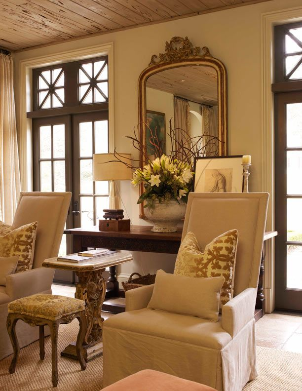 Love the mirror, chairs and windows.....Living Area, The Doors, Living Rooms, Chairs, French Doors, Interiors, Livingroom, Wood Ceilings, Decor Blog