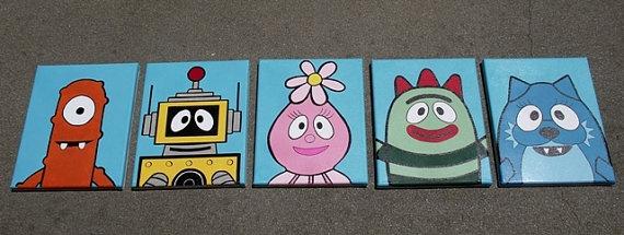 Yo Gabba Gabba hand painted 5 canvas set Calypso by MiniMunster, $40.00