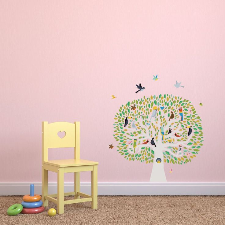 Tree With Colourful Birds Childrens Wall Stickers