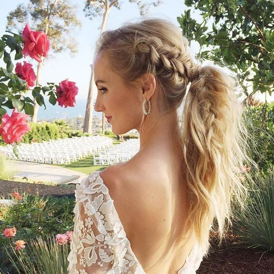 Messy High Ponytail with a Dutch Braid
