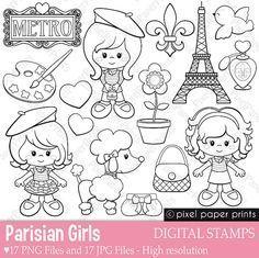 Parisian Girls – Digital stamps – Paris clipart – Line art – paola carolina