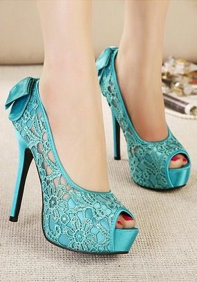 Blue lace stiletto high-heeled sandals