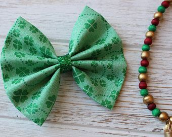 Baby Girl | Newborn | Toddler | Girls St. Patrick's Day Shamrock Fabric Bow Nylon Headband | Hair Clip | Boy Bow Tie | Pig Tail Bows