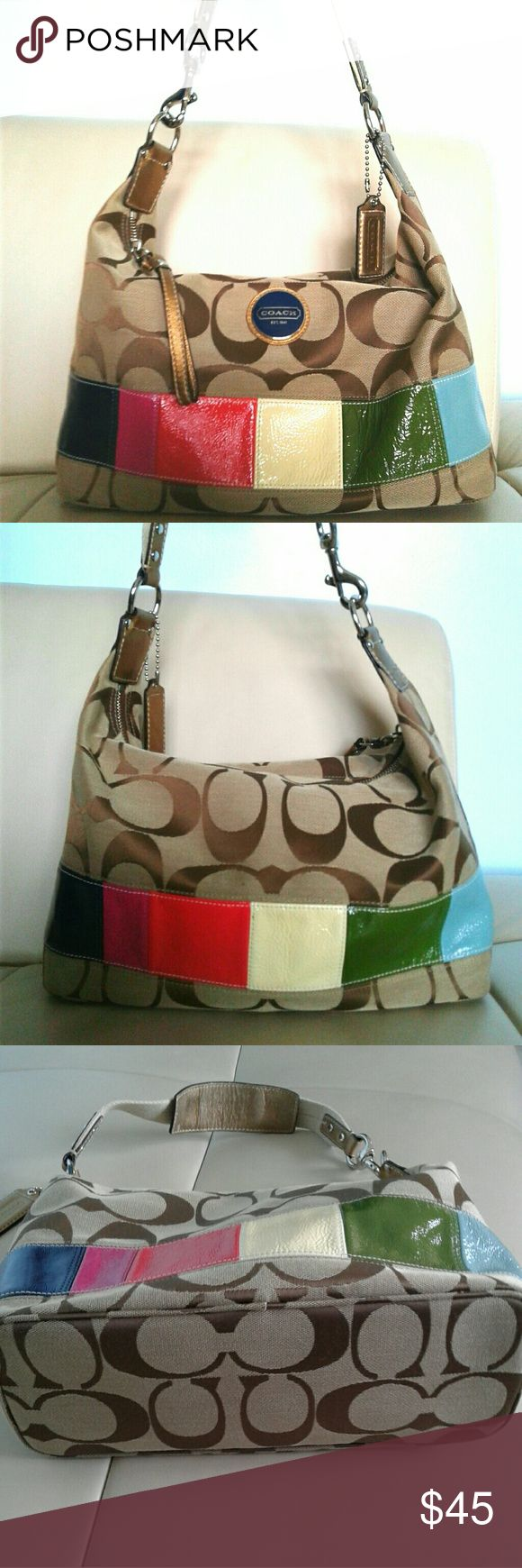 COACH MULTICOLOR STRIPE SHOULDER BAG G15586 Coach signature multicolor stripe  hobo khaki /gold canvas leather sign of wear  as shown on the last pic. Coach Bags Shoulder Bags