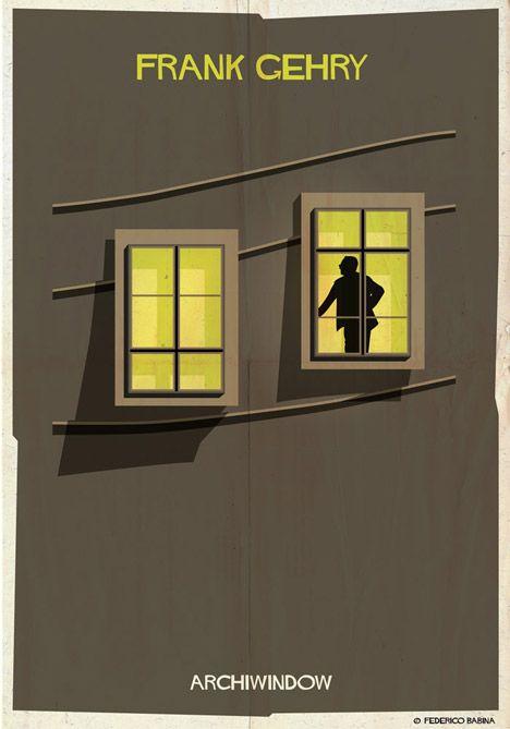 Archiwindow by Federico Babina.  Architect silhouettes pose inside iconic windows for Federico Babina's Archiwindow series