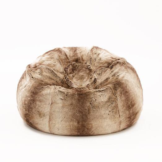 Faux Fur Bean Bag Cover + Insert, Mocha Ombre