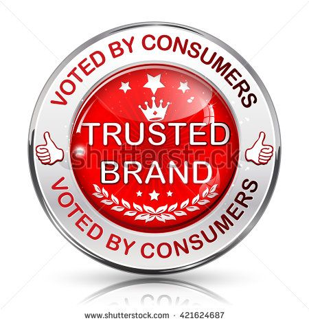 Trusted Brand. Voted by consumers - shiny red icon / label
