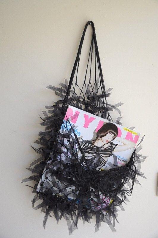 Hairy Black Net Bag  Free Shipping  purses by bestbazaar on Etsy, $25.00 #etsybot #scarves #womenfashion