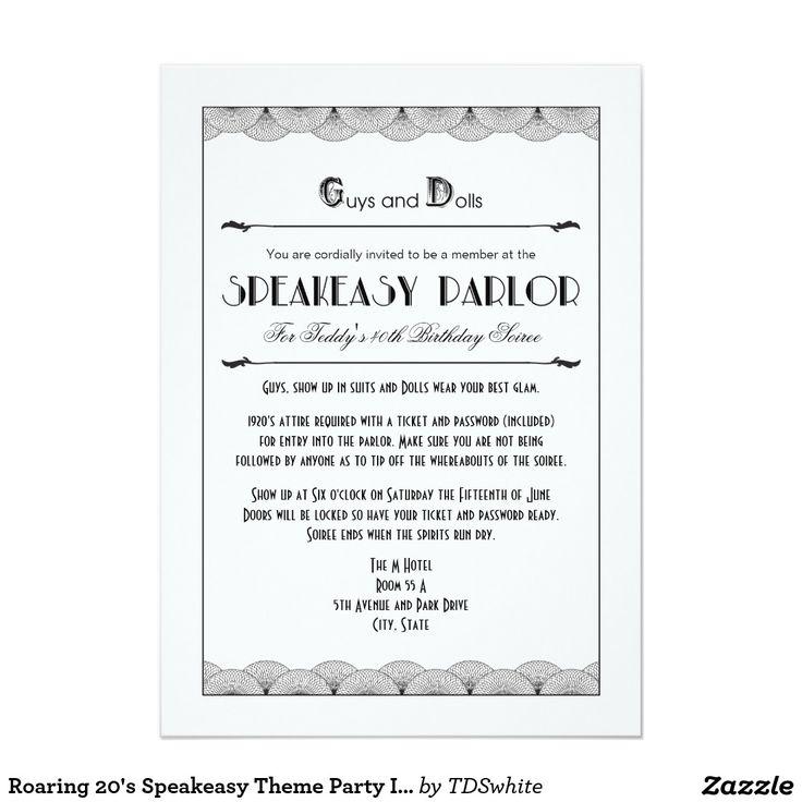 Convites de festas do tema do Speakeasy dos anos