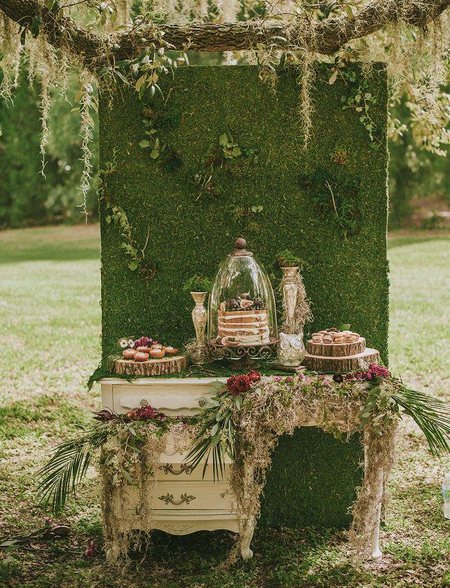 Vintage woodland cake table + dessert bar